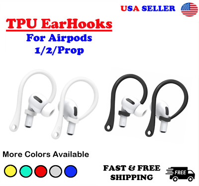 For AirPods 12 Pro TPU Silicone Ear Hooks  AirPods BlackWhite  USA SELLER