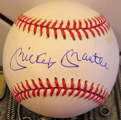 BOLD/CLEAR! YANKEES MICKEY MANTLE SIGNED BASEBALL & COA...BALL FROM MLB SCOUT