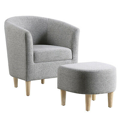 Modern Accent Chair Linen Fabric Single Sofa Chair With Ottoman Foot Rest