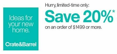 Crate and Barrel 20 off RARE COUPON - works on furniture - exp- 12-15-20 - FAST