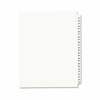 Avery-Style Legal Exhibit Side Tab Divider Title 51-75 Letter White 01332