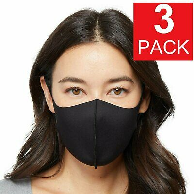 3-Pack Black Soft Cloth Fabric 3D Washable Face Mask  Reusable