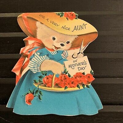 Vintage Greeting Card Mother's Day Aunt Bear In Dress Norcross