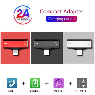 2in1 Dual Adapter Earphone Charger Audio Splitter for iPhone 7 8 X XR 11 Pro Max