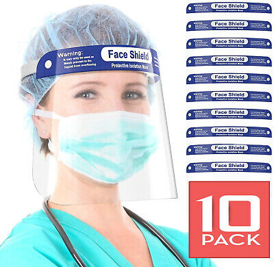 10-PACK FACE SHIELD REUSABLE PROTECTION MASK COVER INDUSTRY SAFETY ANTI SPLASH