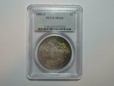 US 1882 S PCGS MS64 Silver Morgan Dollar Coin Rainbow Toning Bith Sides