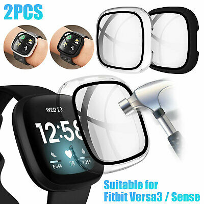 For Fitbit Versa3Sense Watch Series Case Cover Tempered Glass Screen Protector