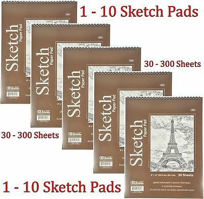 Spiral Sketch Pad Book 9 x 12 Art Drawing Paper 30 sheets pencil pastel ink