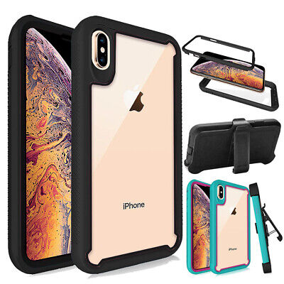 For iPhone X Xs Xr Xs Max Rugged Bumper Armor Case Shockproof Cover-Belt Clip