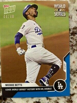2020 TOPPS NOW BLUE PARALLEL WORLD SERIES CARD 4449 DODGERS MOOKIE BETTS 479
