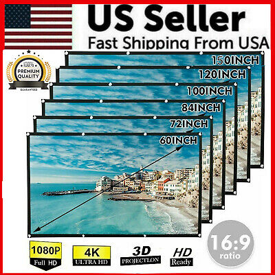 Portable Foldable Projector Screen 169 HD Outdoor Home Cinema Theater 3D Movie