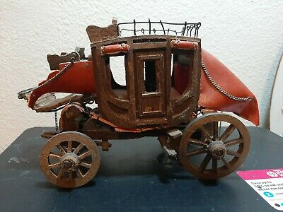 FABULOUS ANTIQUEVINTAGE HAND CRAFTED WOOD STAGE COACH PRIMITIVE