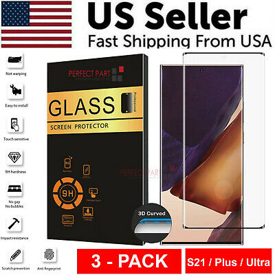 3 PACK - For Samsung Galaxy S21 PLUS ULTRA Tempered Glass Screen Protector Clear