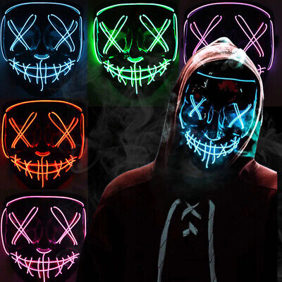 Costume Halloween Face Mask LED Light Up 3 Modes Cosplay Clubbing Party Purge