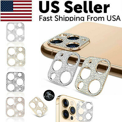For iPhone 12 11 Pro Max Mini Diamond BLING Tempered Glass Camera Lens Protector