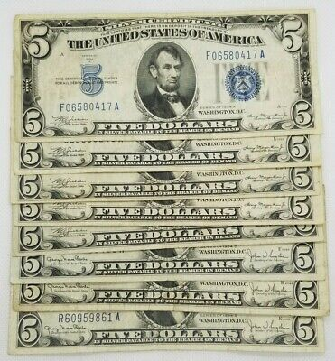 1934 Five Dollar 5 Blue Seal Silver Certificate Old US Bill Average Circ