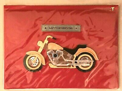 Papyrus Fathers Day Card - Wooden Wood - Silver Motorcycle to a Great Guy 9-95