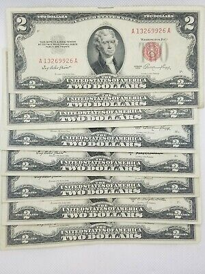 19531963 Two Dollar Bill 2 Note Fancy Red Seal Old Paper US Currency Bill