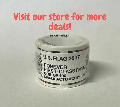 2017 USPS Forever Flag Stamps Coil 100 stamps FREE shipping