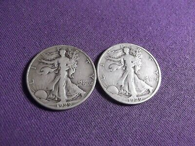 1929 D and 1929S S  Walking Liberty Halves -  2 Coin Set
