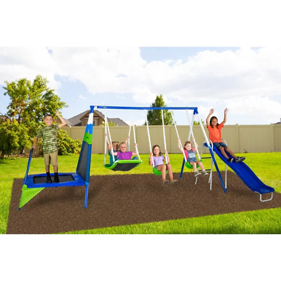 Recreation Play All Day Metal Swing Set - Slides Ladder Mini Trampoline 3 Swings