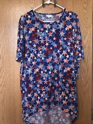 Lularoe Womens Irma Red White - Blue Stars Top Size S Small NWT - New