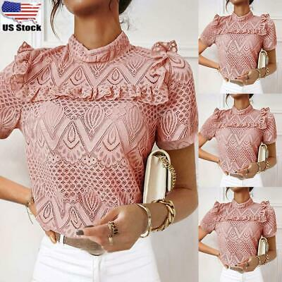 ⭐Womens Lace Frill Ruffle Short Sleeve Tops Blouse Ladies Summer Casual T Shirt