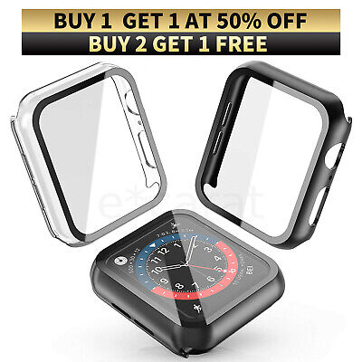 2Pack Tempered Glass Protector Case Cover For Apple Watch 6 5 4 3 SE 38404244