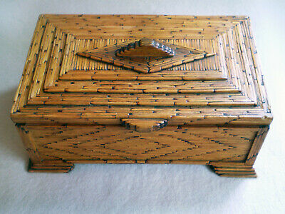 Antique Hand Made WOOD TRAMP ART BOX Intricately Constructed - Designed Lined