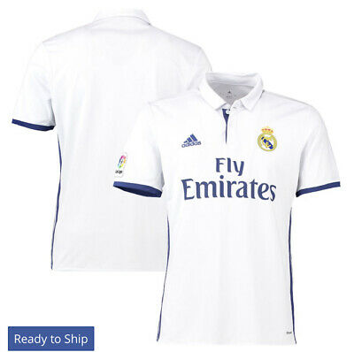 New Authentic Adidas Real Madrid Home Jersey White 1617 2XL Short Sleeves Tags