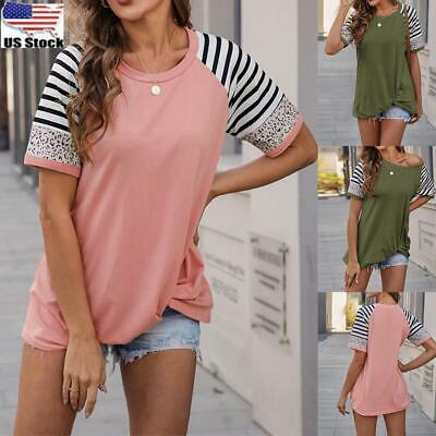 ⭐Womens Striped Leopard Short Sleeve T Shirt Blouse Ladies Casual Loose Tee Tops