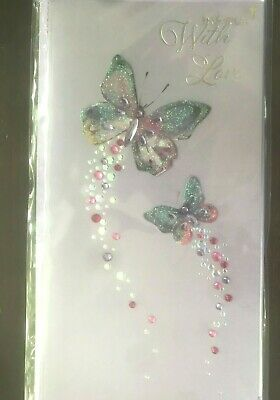 Papyrus Mothers Day card -Gemmed Rhinestone Butterflies With Love Gems Glitter