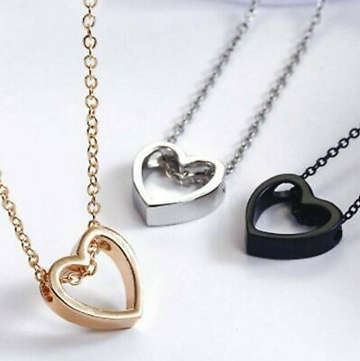 Fashion Women Heart  Pendant Charm Necklace Jewelry w 19 Stainless Steel Chain