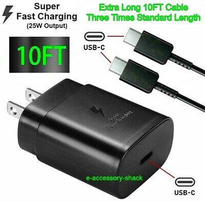 25w Type USB-C Super Fast Wall Charger-10FT Cable For Samsung Galaxy S20 S21 5G