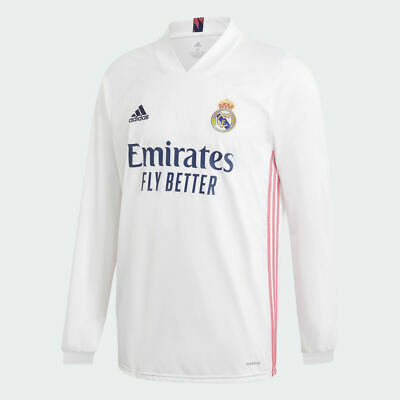 NWT 100 Adidas Real Madrid 20-21 Home Long Sleeve Jersey White Pink FQ7473 Sz S
