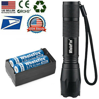 T6 LED Flashlight -2pc 18650 Li-ion Battery Rechargeable Batteries -Dual Charger