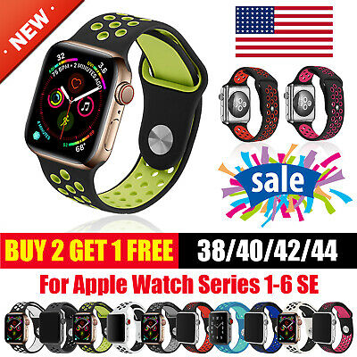 Silicone Sport Band Wrist For Apple Watch iWatch Series 654 SE 321 38404244mm