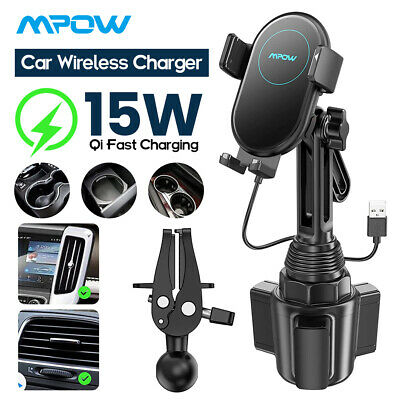Mpow Car Qi Fast Wireless Charger Cup Holder Air Vent Mounted Phone Holder Dock