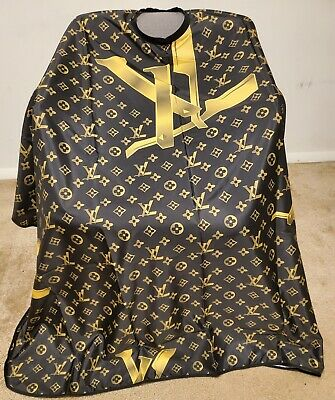 Barber hair cutting and styling cape Luxury Style Drape- Black - Gold cape
