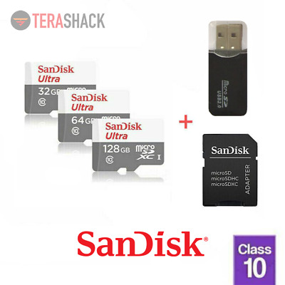 SanDisk Micro SD TF Card 16GB 32GB 64GB 128GB Class 10 Android with USB Adapter