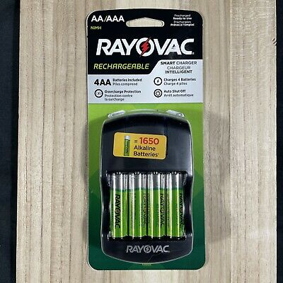 Rayovac NiMH AA Smart Charger Includes 4 AA Rechargeable Battery Pack- Sealed-