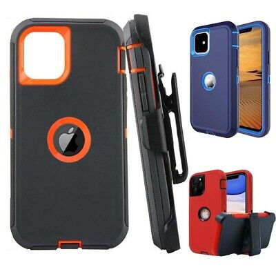 For iPhone 11 iPhone 12 Pro Max Rugged Case Cover W Belt Clip-Screen Protector