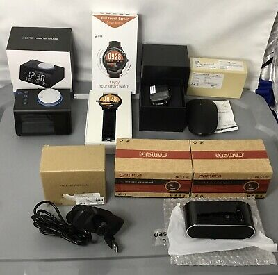 Lot of 7 New Electronic Items Cameras SmartWatches PC Mouse