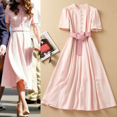 Kate Middleton Pink Belted Crepe Midi Dress Fit Flare Stand Collar Women Summer