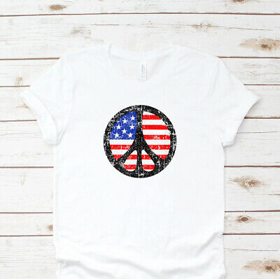 Fourth 4th of July American Flag Peace Sign T-Shirt Cotton Unisex