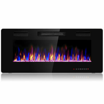 42 Electric Fireplace Recessed Ultra Thin Wall Mounted Heater Multicolor Flame