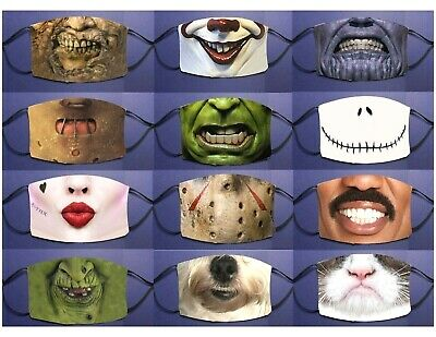 Halloween Theme Face Mask Covering Adult and Youth Size Pick Design