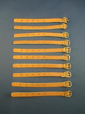 Lot of 10 New Tan Leather Luggage Straps Gold Tone Buckle 4 78 ID Tags Crafts