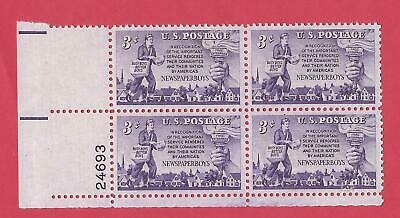 U-S- SCOTT 1015 MNH 3 CENT PLATE BLOCK OF 4 1952 - NEWSPAPER DELIVERY PEOPLE