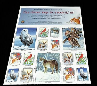 CHRISTMAS 1995 NWF NATIONAL WILDLIFE FEDERATION Christmas Stamps MINT SHEET